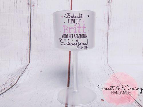 wijnglas bedrukt juf