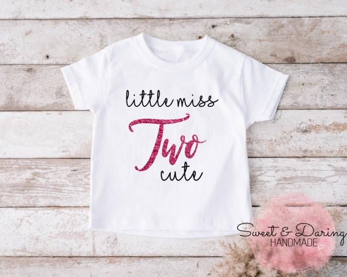 shirt little miss two cute