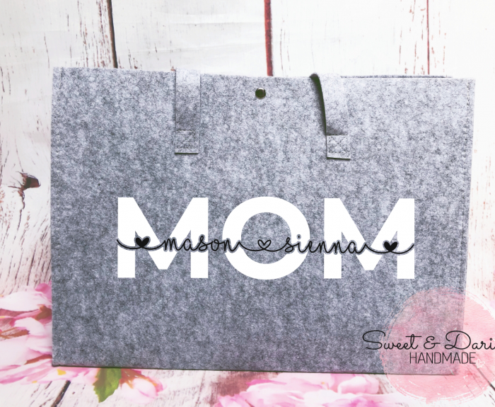 gepersonaliseerde vilten shopper mom hart