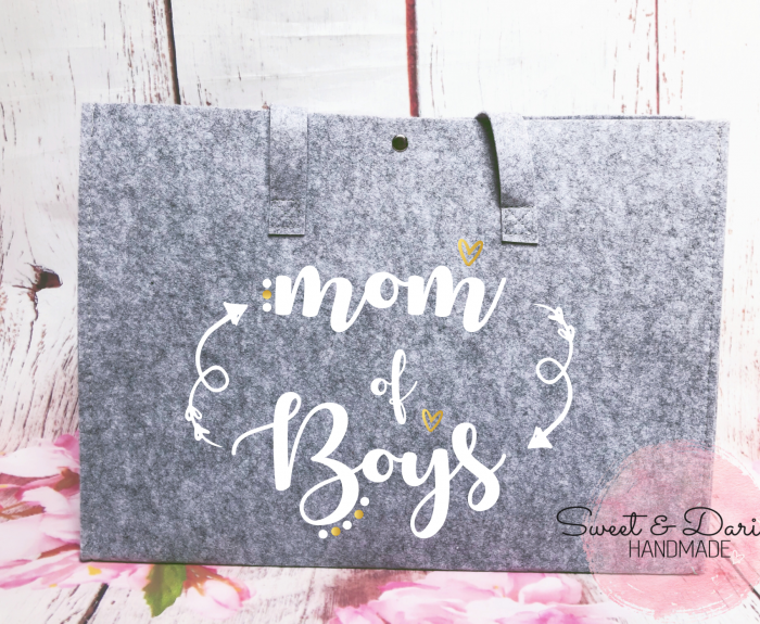 gepersonaliseerde vilten shopper mom of boys wit